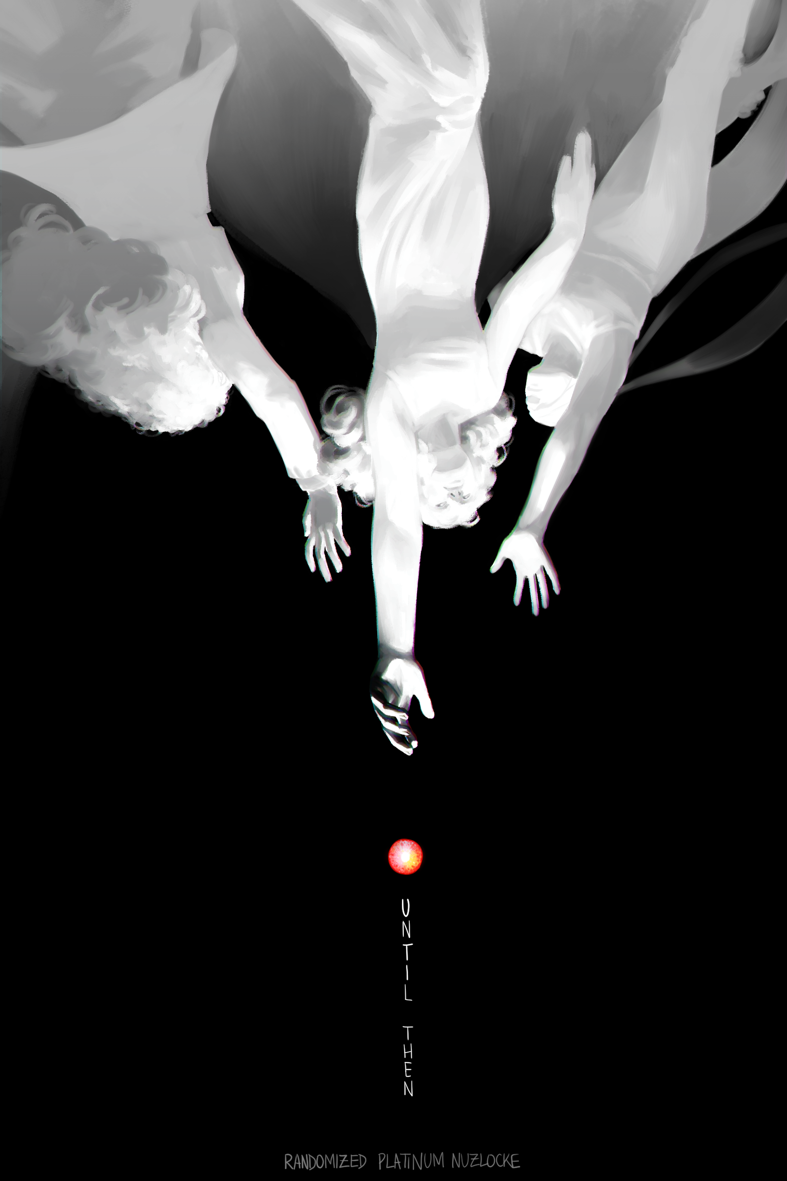 The scene is set against a pure black background. We see three upside-down monochromatic, humanoid figures, all of which reaching towards a glowing red 'orb.' The glow inside the orb seems to separate into three hues: pink, blue, and yellow. Beneath the orb, in vertical white text, reads UNTIL THEN. On the bottom of the image, in grey, reads RANDOMIZED PLATINUM NUZLOCKE.